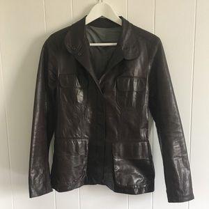 M0851 leather safari jacket